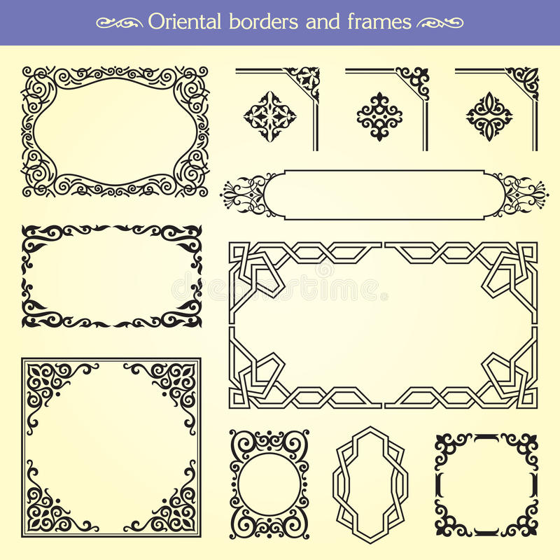 Oriental Asian Borders And Frames royalty free illustration