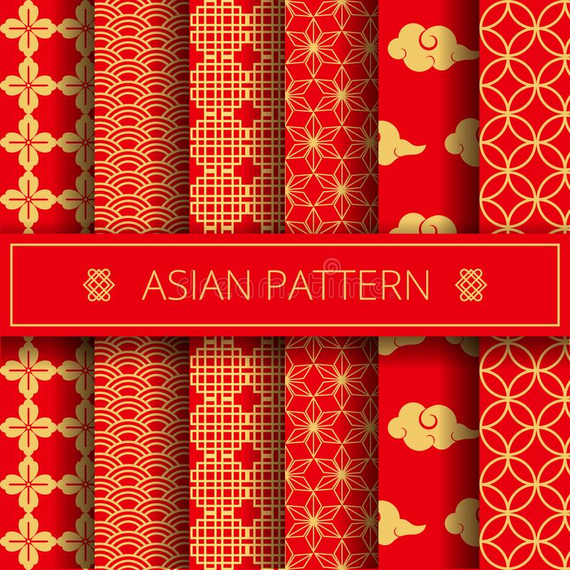 Oriental asian traditional korean japanese chinese patterns decoration elements set,web online concept page background royalty free illustration