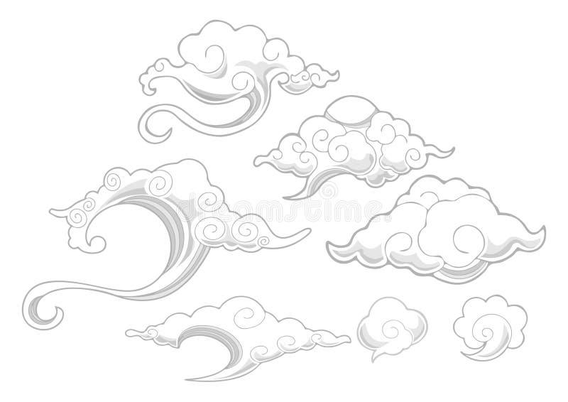 Oriental avec l'ensemble d'ornement de nuage illustration libre de droits