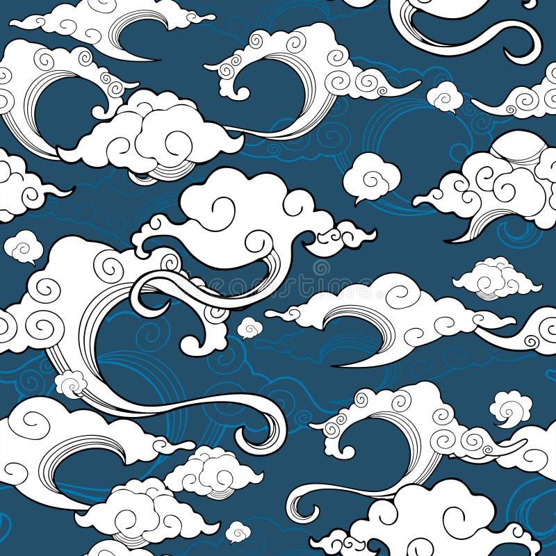 oriental avec l'ornement de nuage sans couture avec le fond bleu illustration de vecteur