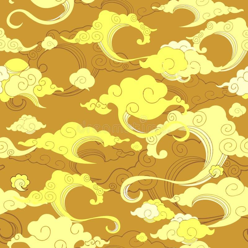 oriental avec l'ornement de nuage sans couture avec le fond d'or de ton illustration stock