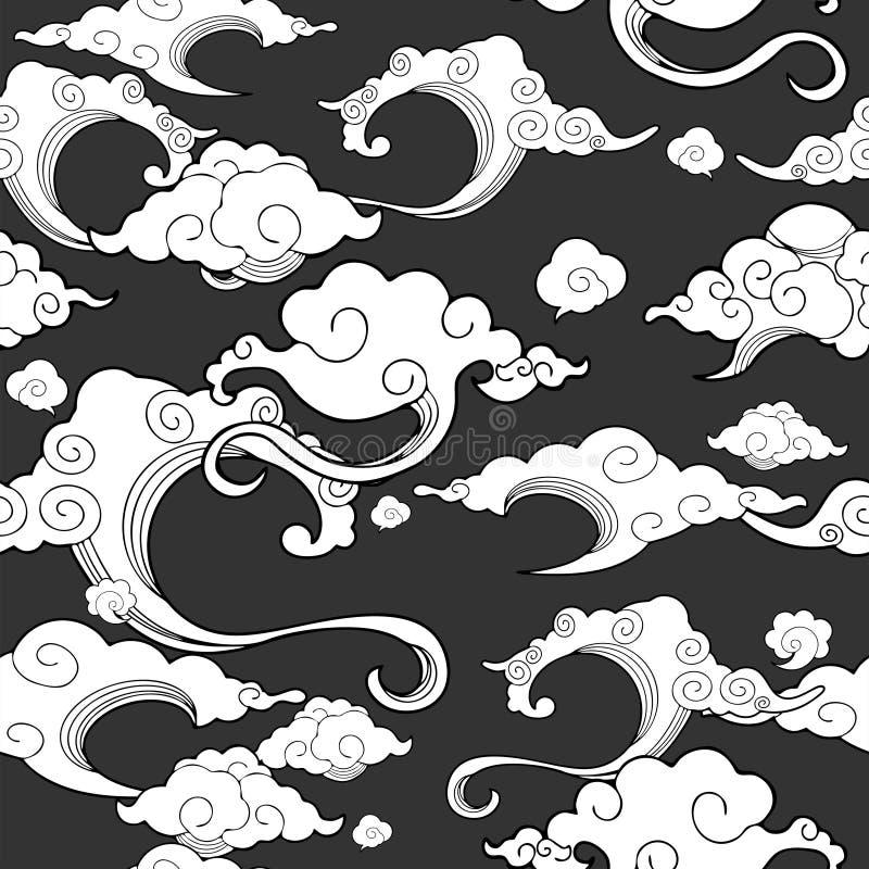 Oriental avec l'ornement de nuage sans couture avec le fond gris profond illustration libre de droits