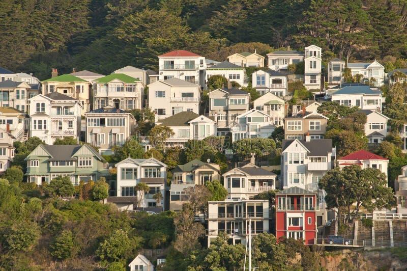 Oriental Bay villas, Wellington, New Zealand royalty free stock photos