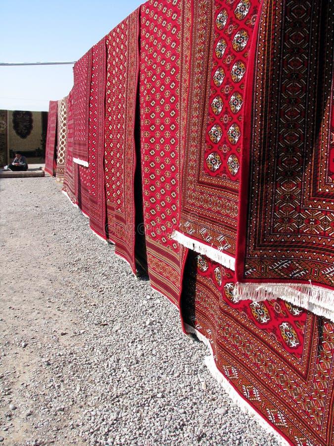 Oriental bazaar objects - bukhara rugs royalty free stock photography
