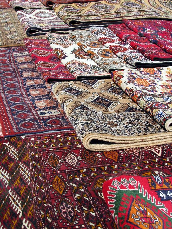 Oriental bazaar objects - bukhara rugs stock photos