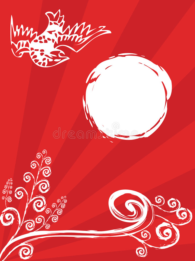 Oriental bird and spiral plant on red