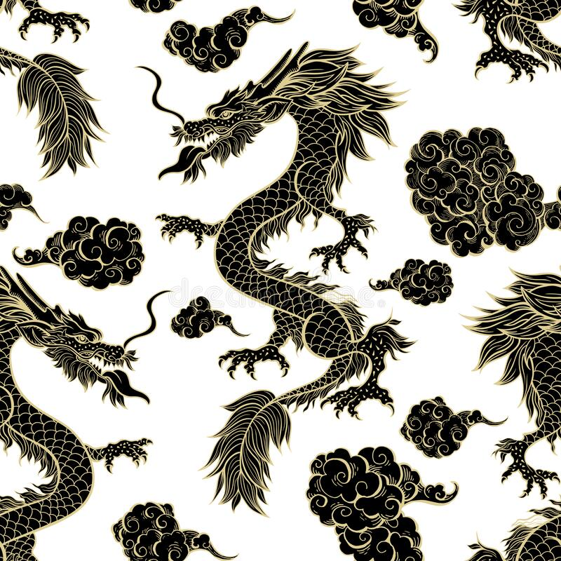 Free Oriental Black Dragon Flying In Clouds Seamless Pattern. Traditional Chinese Mythological Animal Royalty Free Stock Photography - 184265827