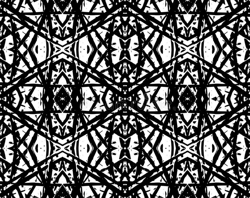 Oriental black geometric abstract seamless pattern or background stock illustration