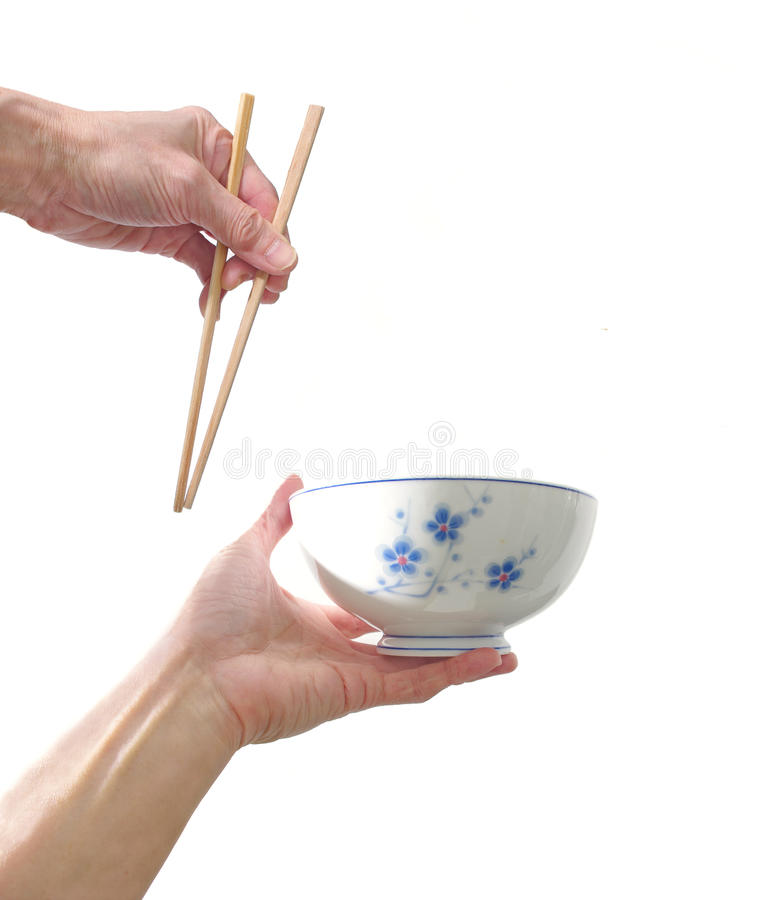 oriental bowl and chopstick royalty free stock images