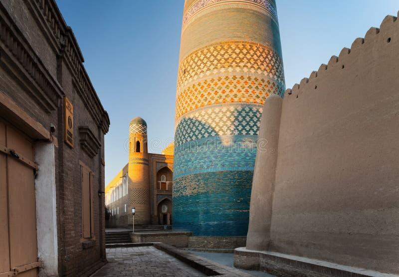 Oriental buildings of old city. Of Itchan Kala. Khiva, Uzbekistan stock photo