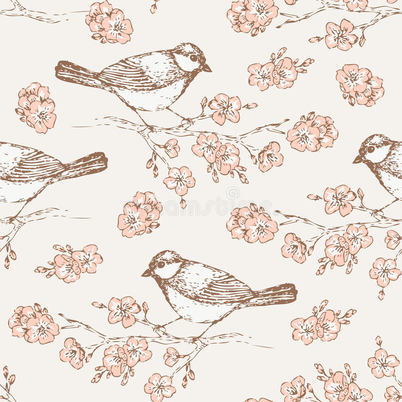 Oriental Cherry Pattern With Bird Vintage Floral Seamless Background Titmouse For Your Design And Scrapbooking