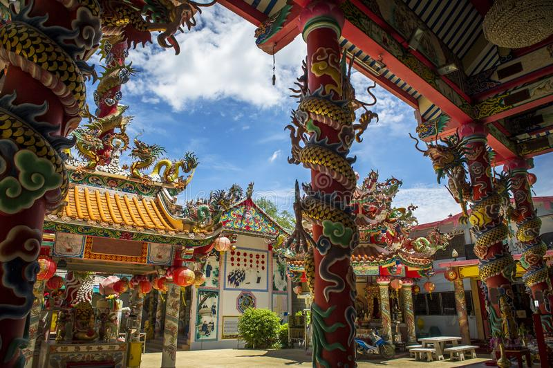 Oriental Chinese temple in bright colors stock image