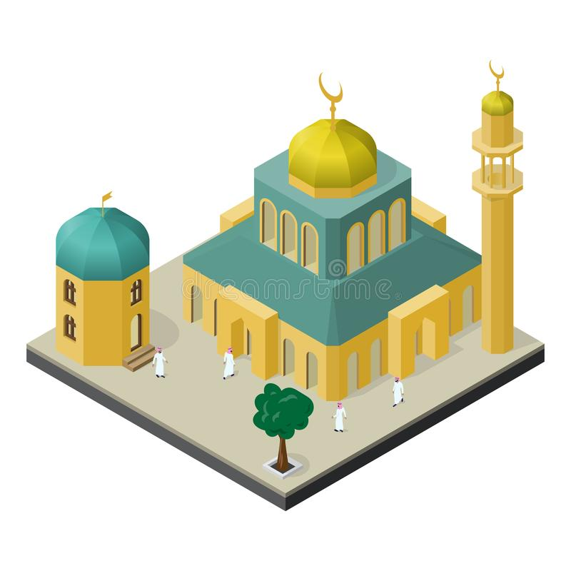 Oriental city life in isometric view. Mosque with minaret, muslims, arabian building and tree.  stock illustration