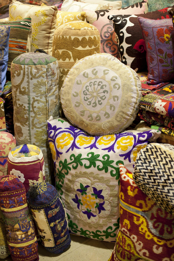 ORIENTAL CUSHIONS. Stack with different styles royalty free stock photography