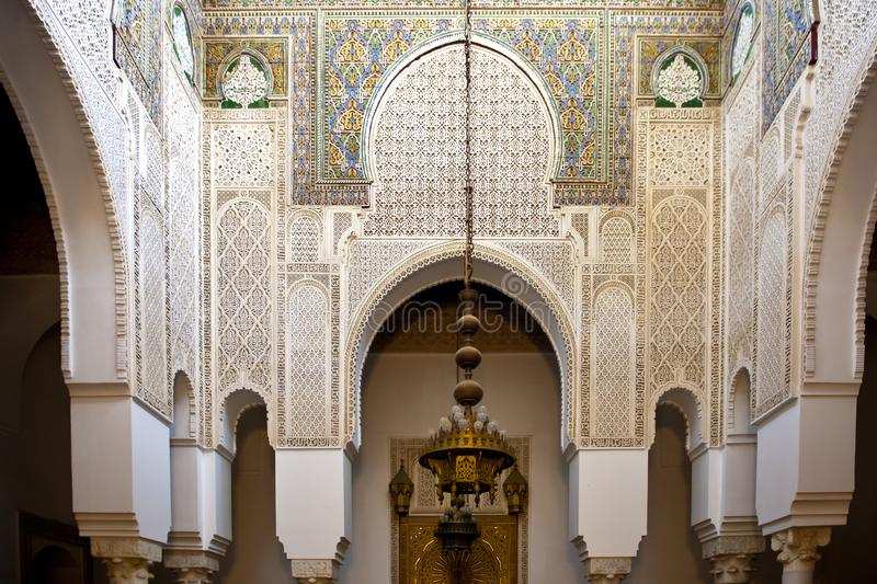 Oriental decor in Tarfaya Mosque in Meknes, Morocco, craftsmanship oriental scarved marble royalty free stock photography