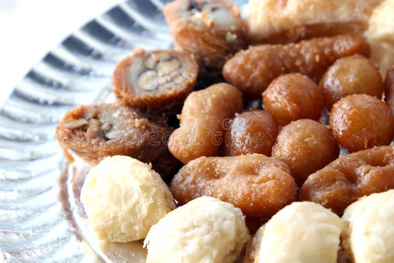 Oriental dessert. Dish plate of sweet oriental dessert stock photography