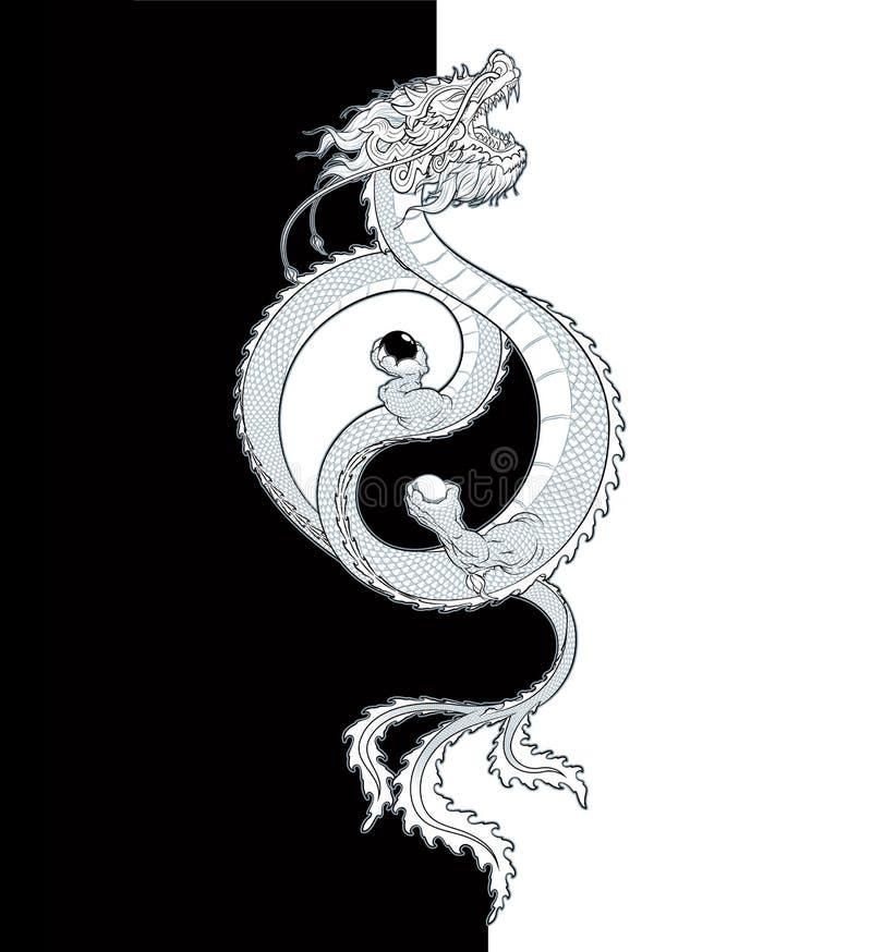 Oriental Dragon Yin-Yang stock illustration
