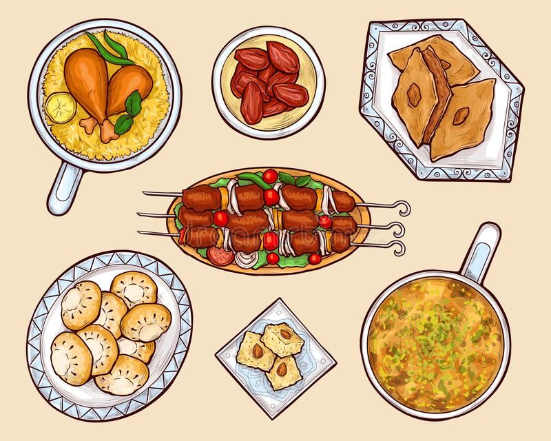 Oriental cuisine dishes cartoon vector set. Oriental, eastern country national cuisine food, exotic culinary, arabian sweets and meat dishes isolated, cartoon vector illustration