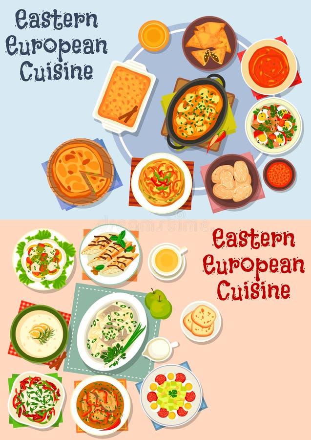 Oriental - ensemble européen d'icône de cuisine pour la conception de nourriture illustration stock