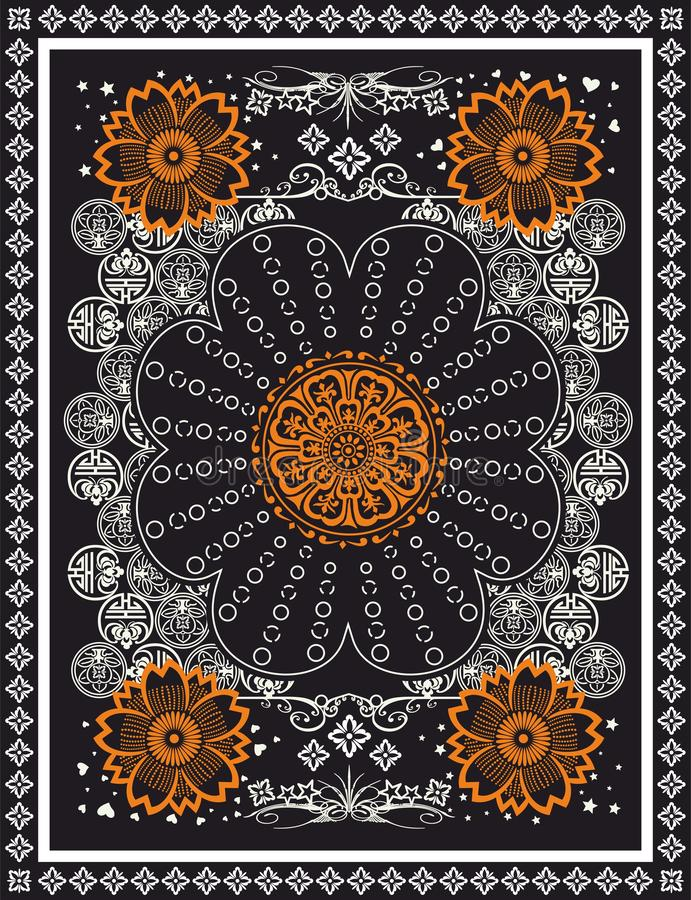 Oriental,ethnic vector scarf pattern,symmetric carpet texture. Traditional fabric print. Shawl, bandana illustration background. vector illustration