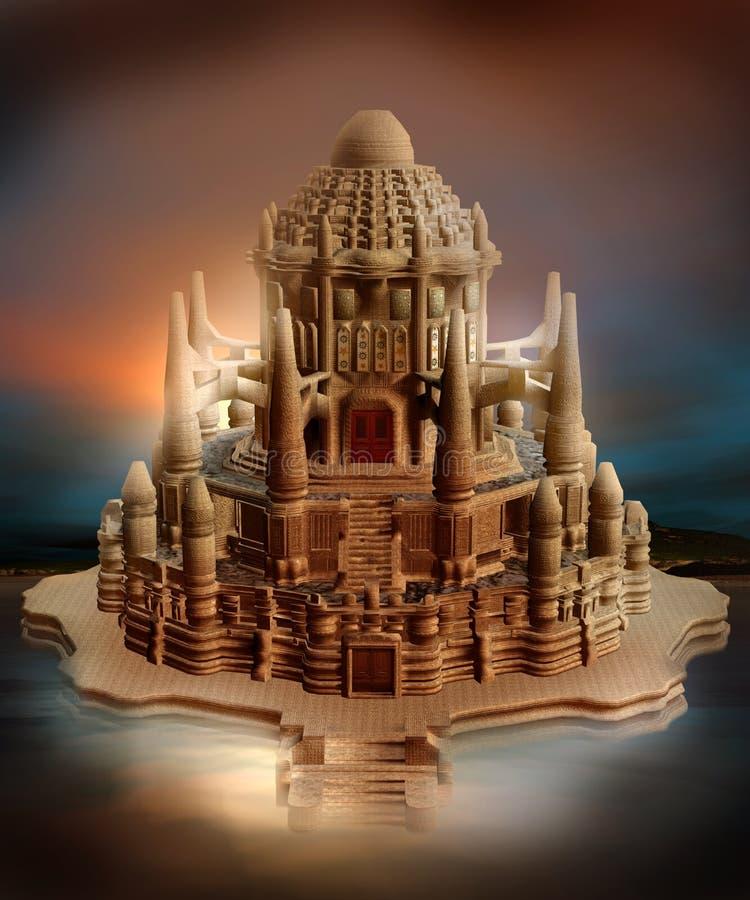 Oriental fantasy castle vector illustration