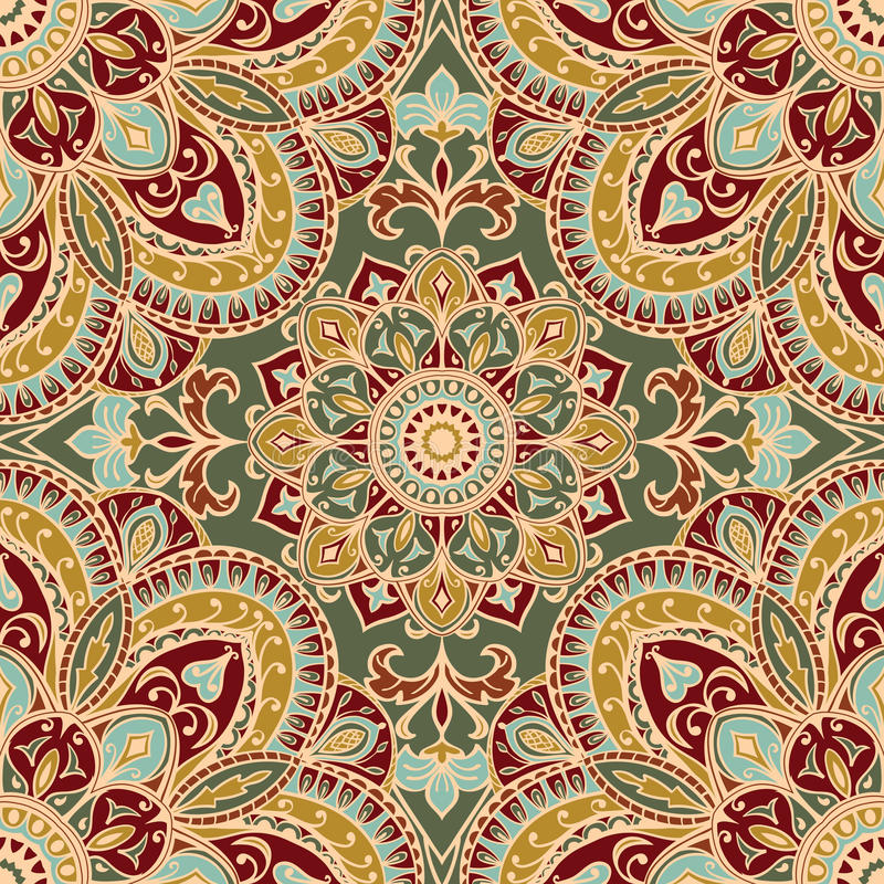 Oriental filigree ornament. Background with tender filigree ornaments. Seamless pattern with elegant mandalas. Template for textile, shawl, carpet, wallpaper stock illustration