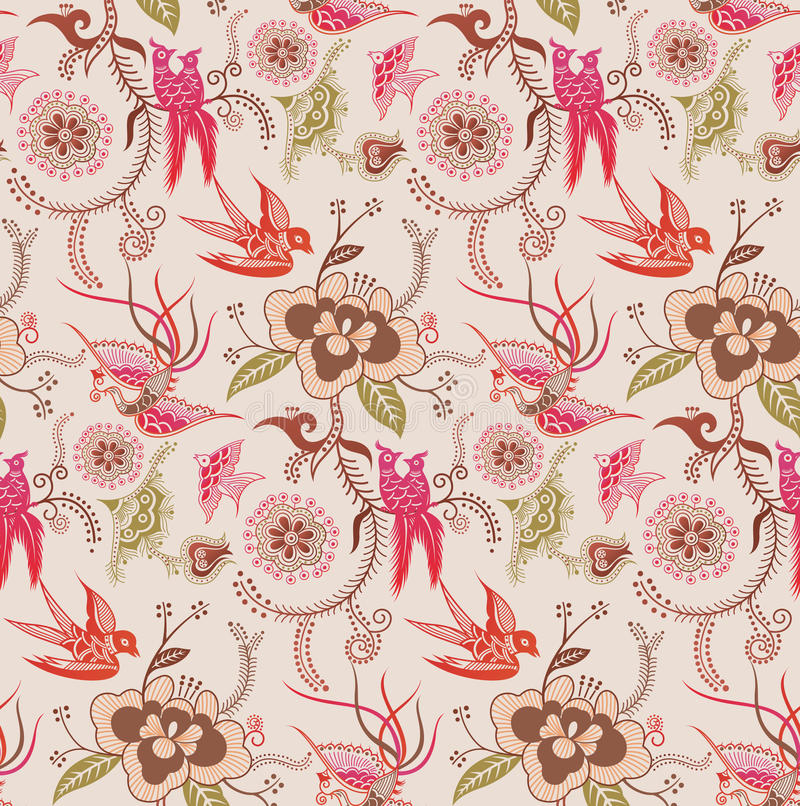 Free Oriental Floral And Bird Pattern 3 Royalty Free Stock Photos - 11250348