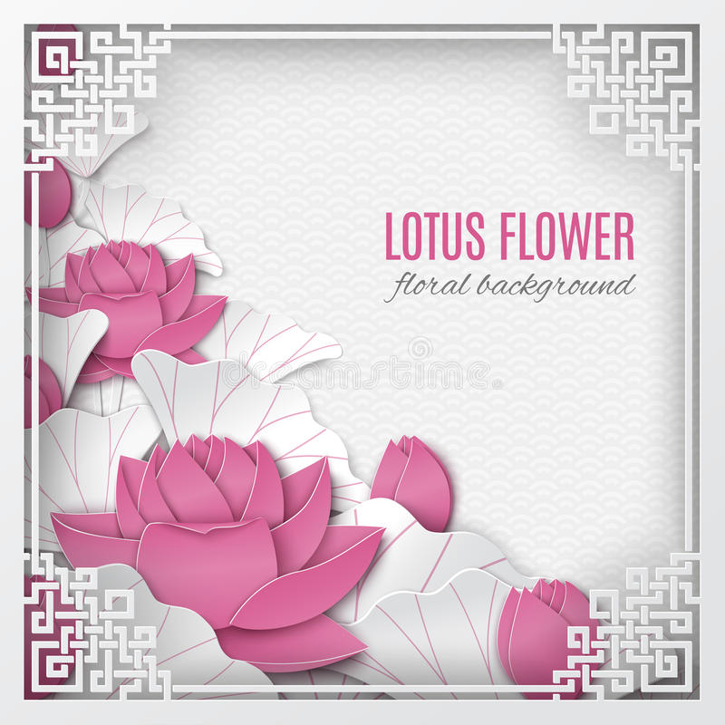 Oriental floral background with pink lotus flowers and ornate cut frame on white pattern backdrop for greeting card. Paper cut out style. Caption Lotus flower stock illustration