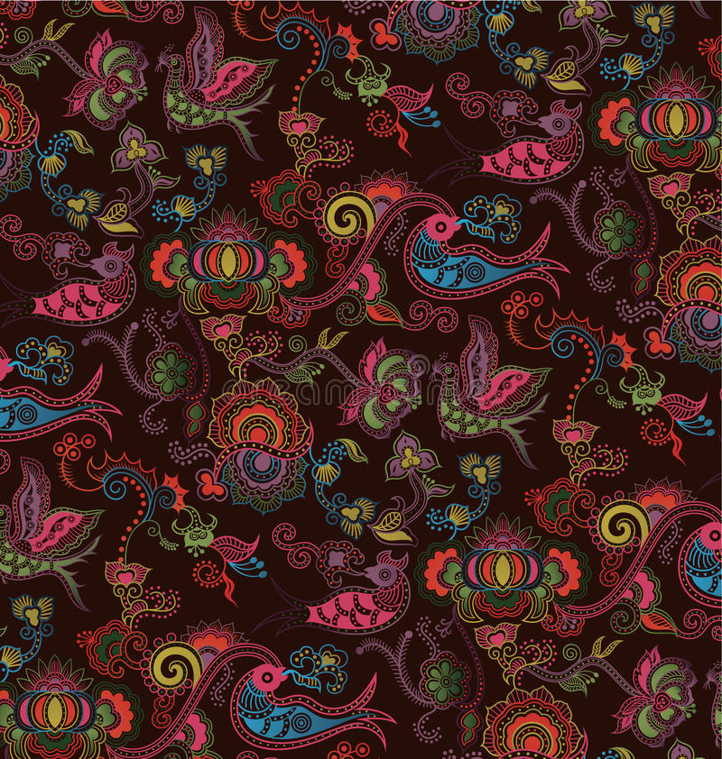 Oriental Floral And Bird Pattern 4 Stock Images