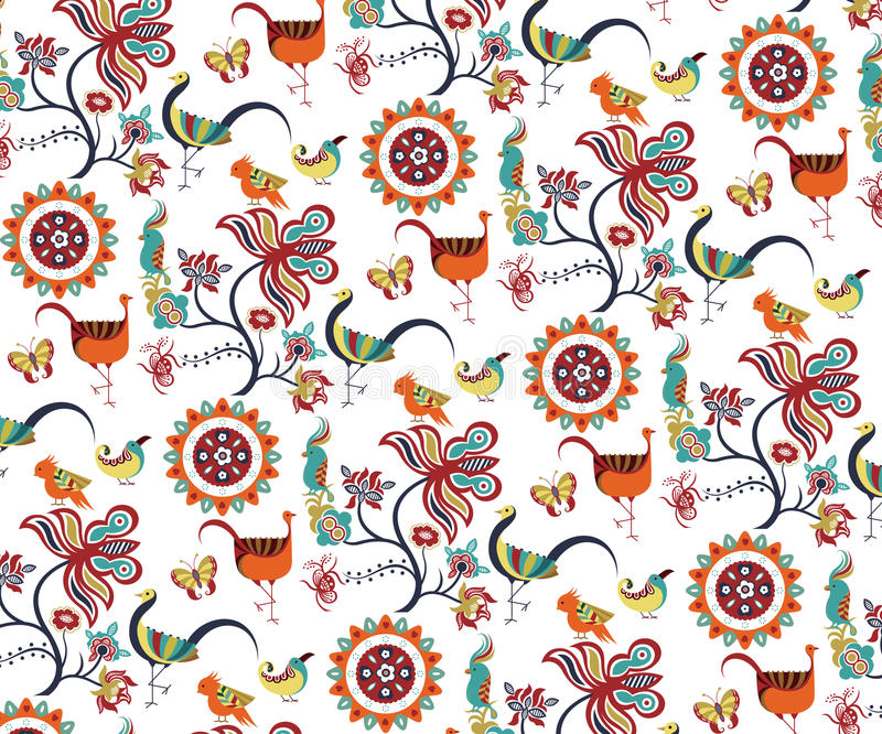 Download Oriental Floral And Birds Pattern Stock Vector - Image: 11112735