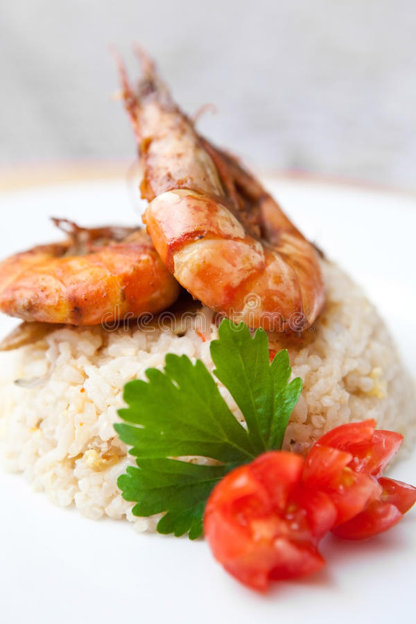 Download Oriental Fried Rice With Tiger Prawns Stock Image - Image of grill, dinner: 18700557