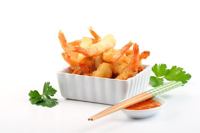 Oriental Fried Shrimp stock image
