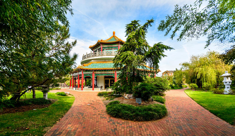 Oriental Gardens and Pagoda. The Oriental Gadens and Pagoda. Located in Downtown Norfolk Virginia stock photos