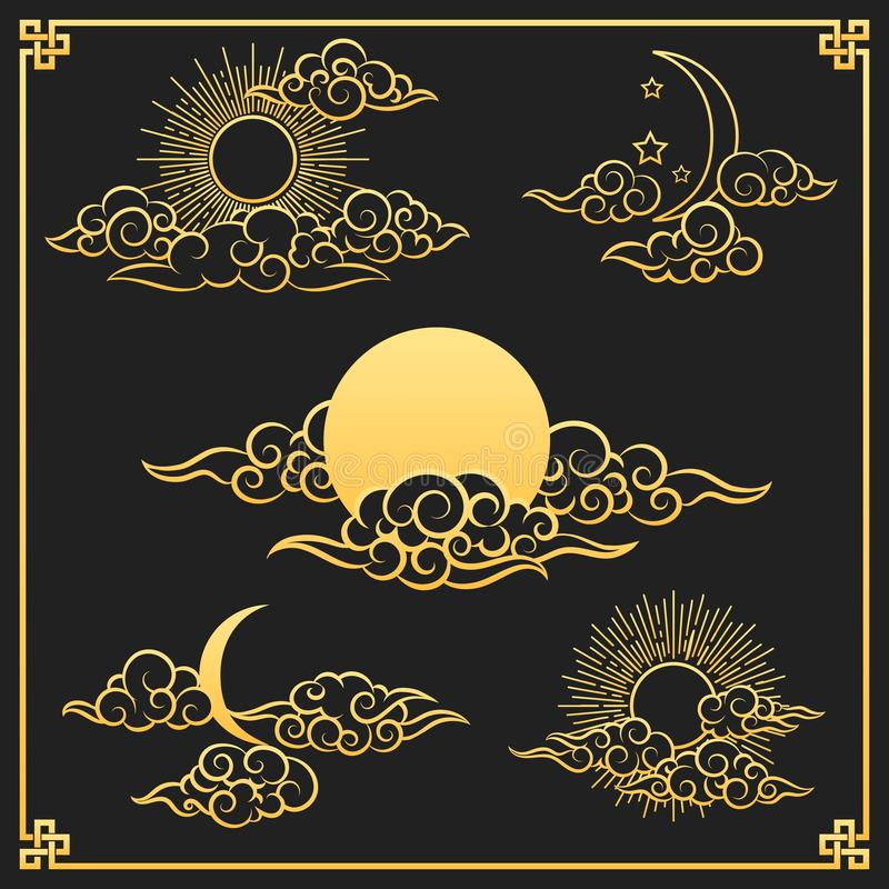 Oriental gold clouds, sun and moon royalty free illustration
