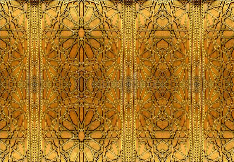 Oriental iron designs and ornaments. The painting depicts oriental patterns on the iron door. The picture shows Oriental iron designs and ornaments. The stock images