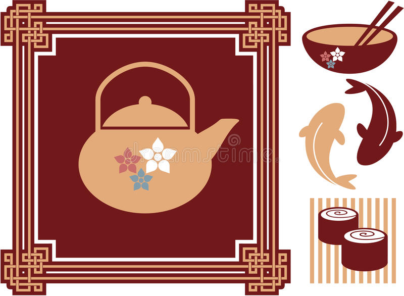 Oriental - Japanese - Food Icons. Including Vector Format stock illustration