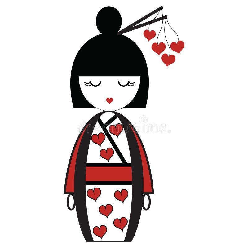 Oriental Japanese geisha doll with kimono with orinetal hair sticks with hearts elements vector illustration
