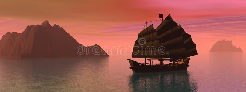 Oriental junk boat stock illustration