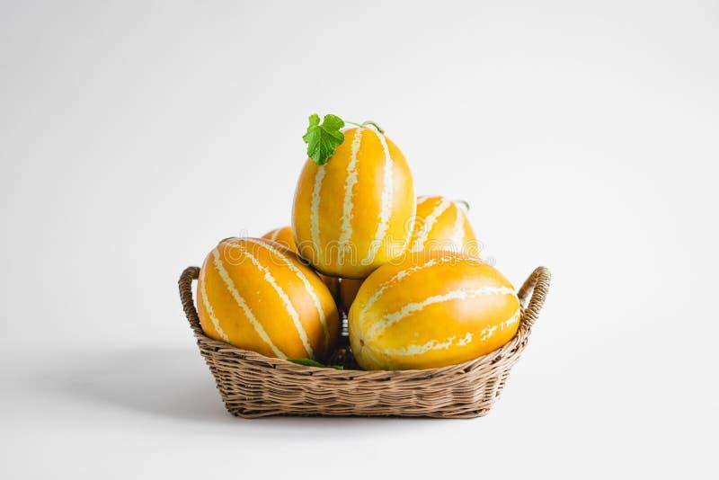 Oriental melon Yellow Melon Golden melon White background royalty free stock photos