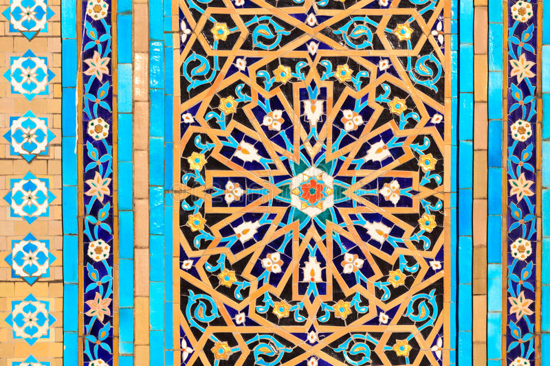 Oriental mosaic pattern. An oriental mosaic pattern on a mosque in St. Petersburg, Russia stock photography