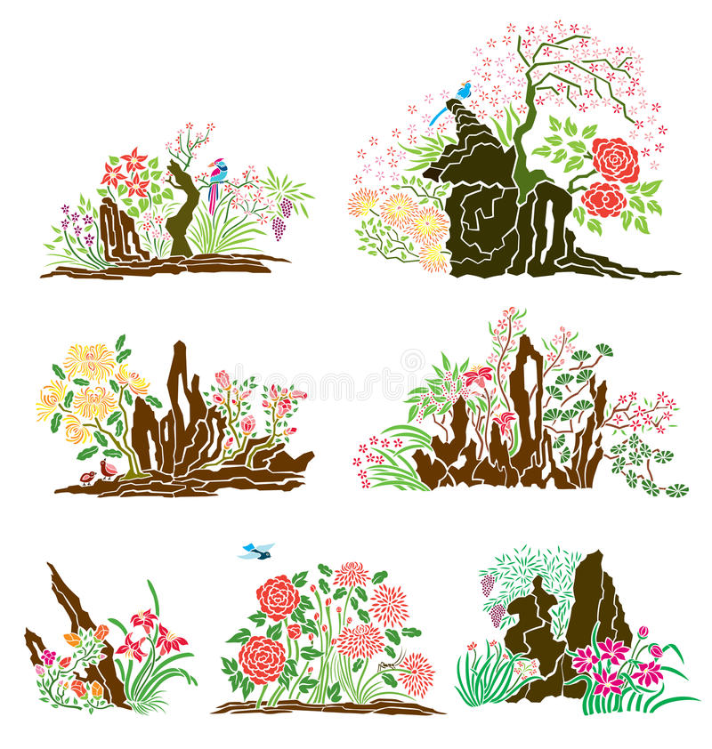Download Oriental Nature stock vector. Illustration of tree, wildlife - 16903499