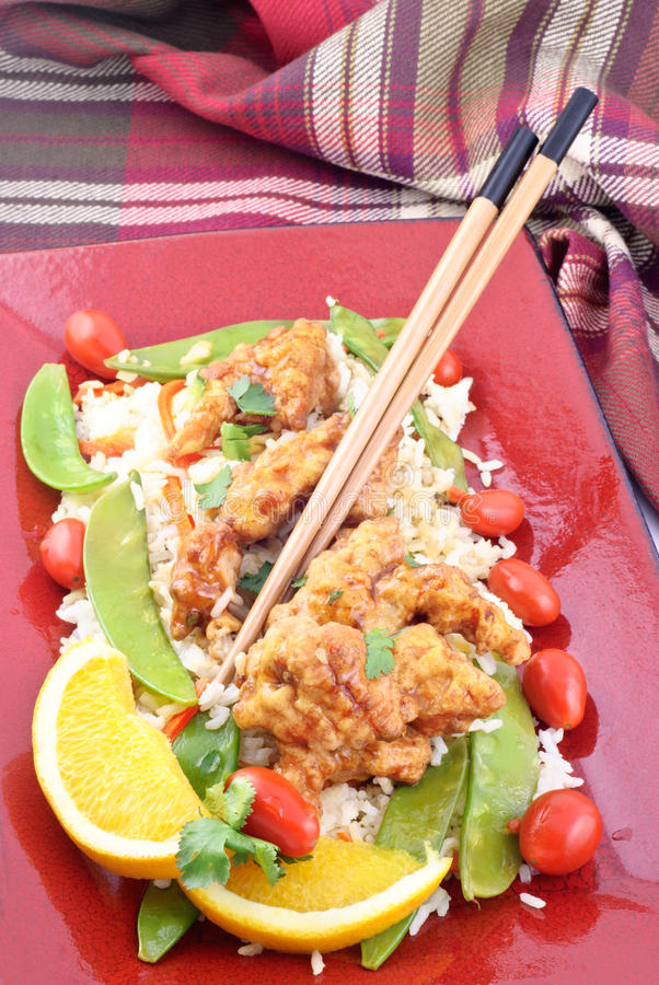 Download Oriental Orange Chicken And Rice Stock Photo - Image: 18440460