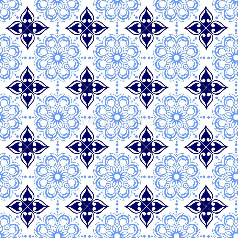 Oriental Ornamental Abstract Floral Flower Seamless Repetitive Tile Geometric Transparent Soft Light And Dark Blue Royal Vintage Aristocratic Arabic Chinese