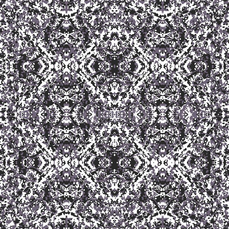Oriental Ornate Mosaic Seamless Pattern. Digital art techinque damask style decorative seamless pattern design in high contrast tones royalty free illustration