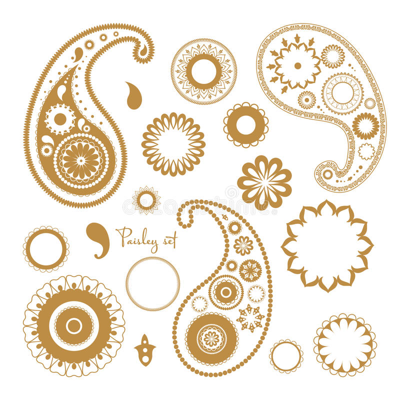 Oriental paisley elements set. Collection of floral abstract ornaments. vector illustration