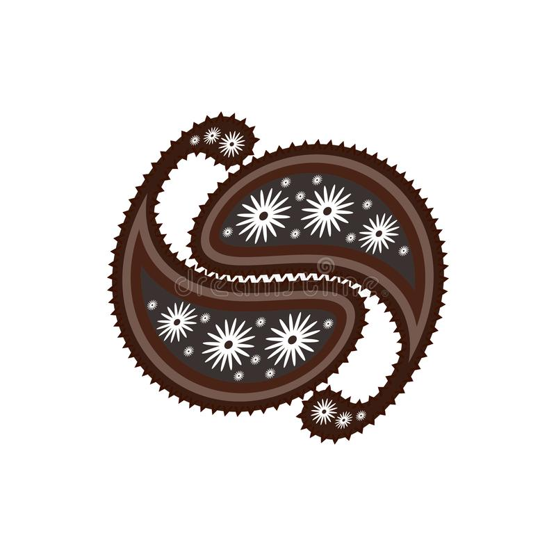 Oriental paisley ornament in gray and brown tones. Stylized yin yang.  Feng Shui. royalty free illustration