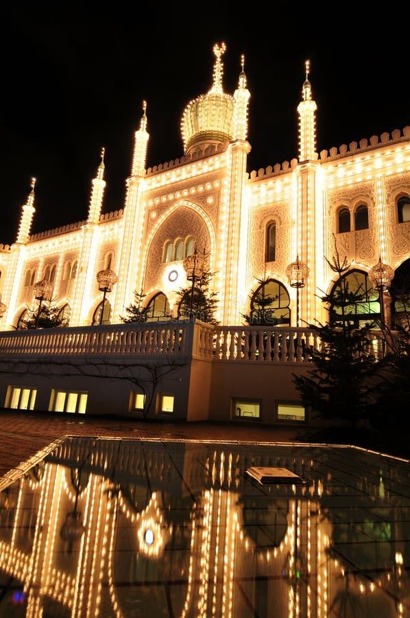 Oriental palace. By night in Tivoli Gardens, Copenhagen royalty free stock photography
