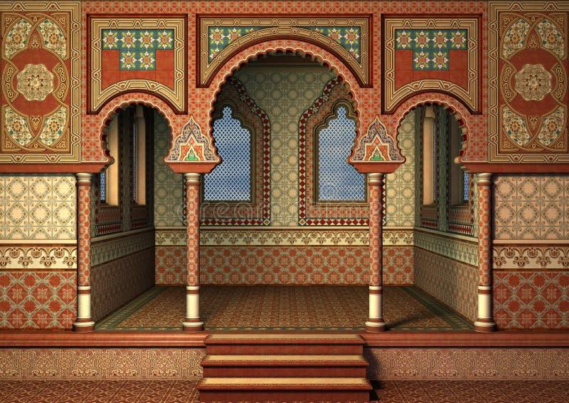 Oriental Palace. 3D digital render of a fairytale oriental palace, blue sky in the windows stock illustration