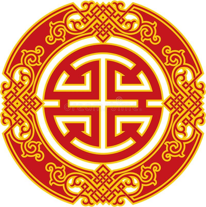Oriental Pattern - Chinese Career Luck Symbol royalty free illustration