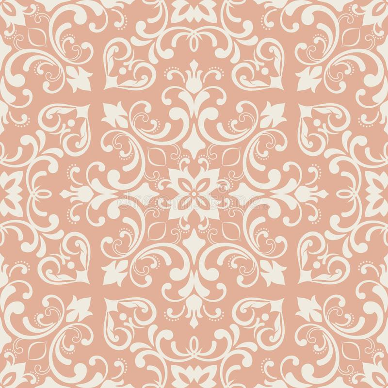 Oriental pattern with damask, arabesque and floral elements. Seamless abstract background royalty free illustration